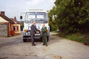 Tom Carson with his first oil tank lorry at Knockbracken Fuels